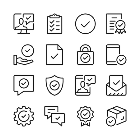 Checkmarks line icons set. Modern graphic design concepts, simple outline elements collection. Vector line icons Banque d'images - 118979915