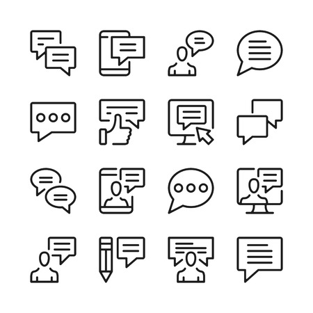 Speech bubbles and message line icons set. Modern graphic design concepts, simple outline elements collection. Vector line icons Banque d'images - 118979916