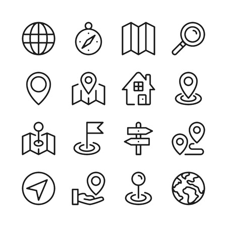 Route and navigation line icons set. Map, location. Modern graphic design concepts, simple outline elements collection. Vector line icons Banque d'images - 118979917