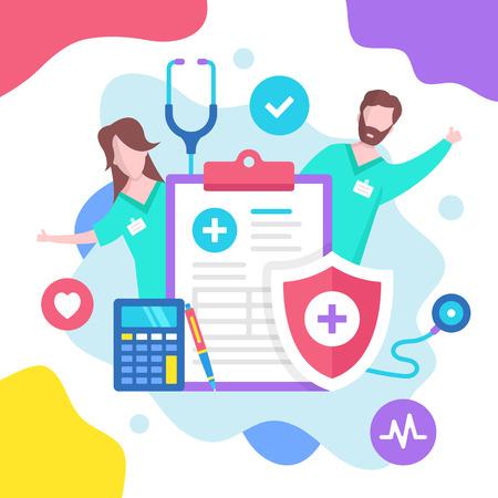 Health insurance concept. Vector illustration. Medical insurance. Modern flat design graphic elements Banque d'images - 120627852