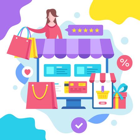 Online shopping concept. Vector illustration. E-commerce, ecommerce. Modern flat design graphic elements Banque d'images - 120627854