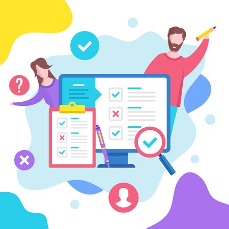 Online survey concept. Vector illustration. Modern flat design graphic elements Векторная Иллюстрация