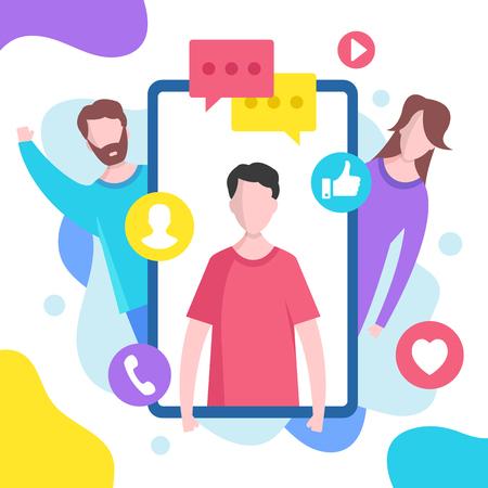 Concepto de redes sociales. Ilustración vectorial. Elementos gráficos de diseño plano moderno