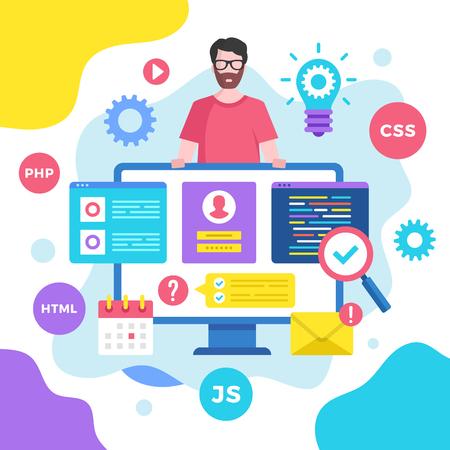 Web development concept. Vector illustration. Programming, coding. Modern flat design graphic elements Banque d'images - 120627857