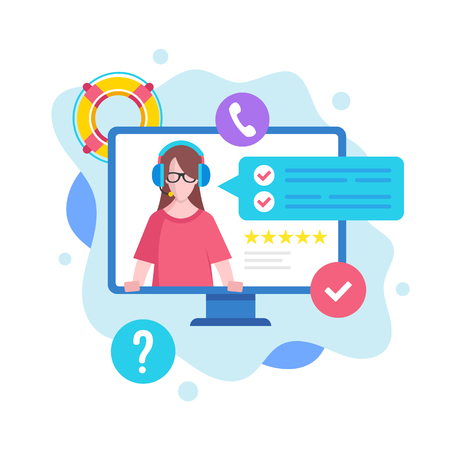 Customer service concept. Vector illustration. Support, call center, online help, technical support. Modern flat design graphic elements Banque d'images - 120627861