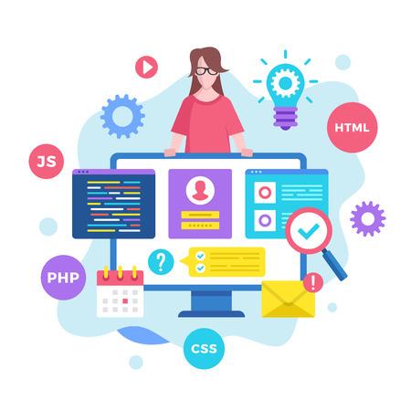 Front end development. Vector illustration. Web development, coding, programming. Modern flat design graphic elements Banque d'images - 120627862