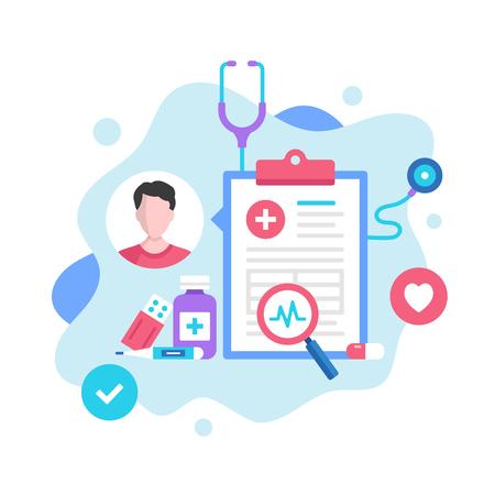 Medical record concept. Vector illustration. Medical diagnosis, medical history, patient card. Modern flat design graphic elements