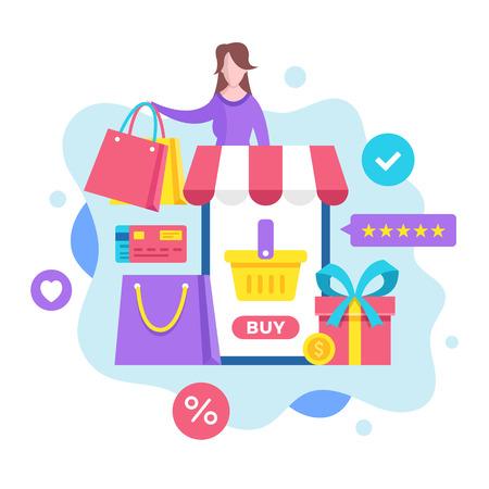Mobile shopping concept. Vector illustration. Shopping online, m-commerce, mobile commerce, ecommerce. Modern flat design graphic elements