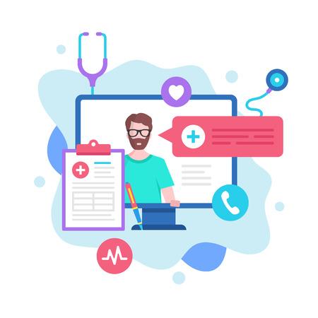 Online doctor concept. Vector illustration. Online medical services, medical consultation. Modern flat design graphic elements