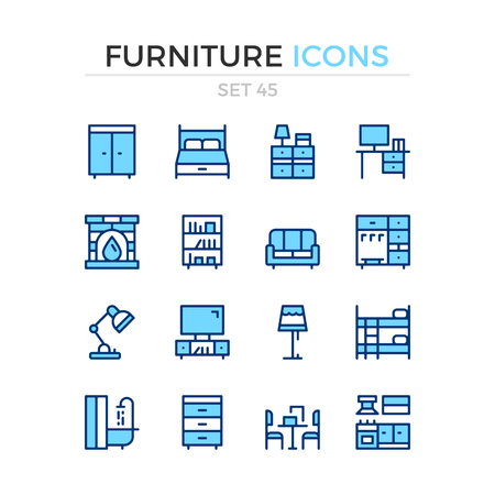 Furniture icons. Vector line icons set. Premium quality. Simple thin line design. Modern outline symbols, pictograms.  イラスト・ベクター素材