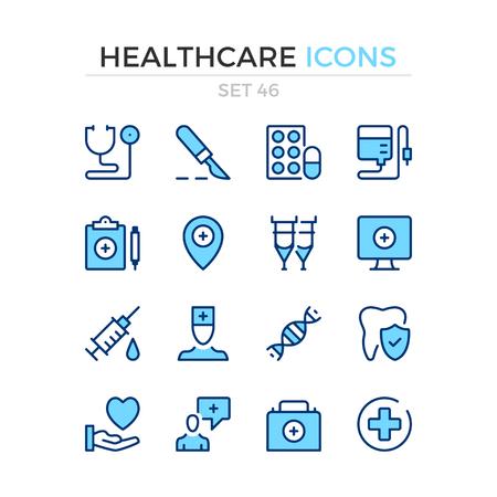 Healthcare icons. Vector line icons set. Premium quality. Simple thin line design. Modern outline symbols, pictograms. Banque d'images - 120627887