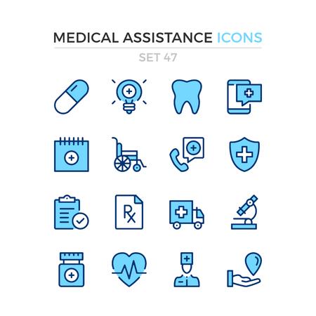 Medical assistance icons. Vector line icons set. Premium quality. Simple thin line design. Modern outline symbols, pictograms. Banque d'images - 120627888