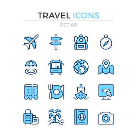 Travel icons. Vector line icons set. Premium quality. Simple thin line design. Modern outline symbols, pictograms. Banque d'images - 120627889