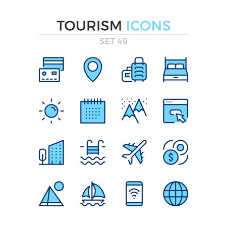 Tourism icons. Vector line icons set. Premium quality. Simple thin line design. Modern outline symbols, pictograms. Banque d'images - 120627890