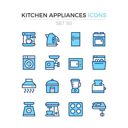 Kitchen appliances icons. Vector line icons set. Premium quality. Simple thin line design. Modern outline symbols, pictograms. Banque d'images - 120627908
