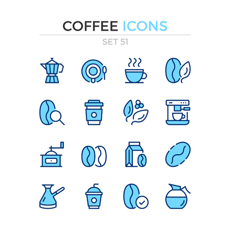 Coffee icons. Vector line icons set. Premium quality. Simple thin line design. Modern outline symbols, pictograms. Banque d'images - 120627906