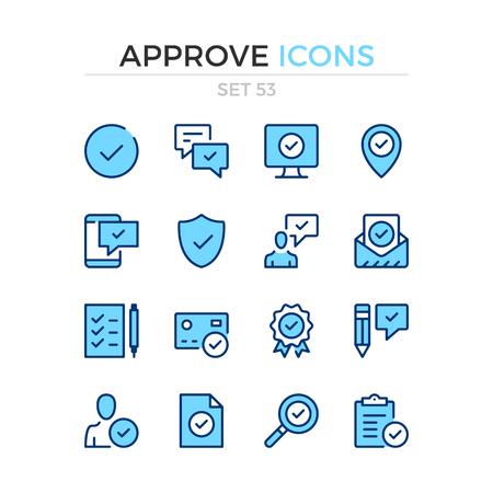 Approve icons. Vector line icons set. Premium quality. Simple thin line design. Modern outline symbols, pictograms. Ilustração