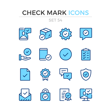 Check mark icons. Vector line icons set. Premium quality. Simple thin line design. Modern outline symbols, pictograms. Banque d'images - 120627907