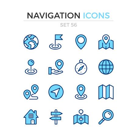Navigation icons. Vector line icons set. Premium quality. Simple thin line design. Modern outline symbols, pictograms.