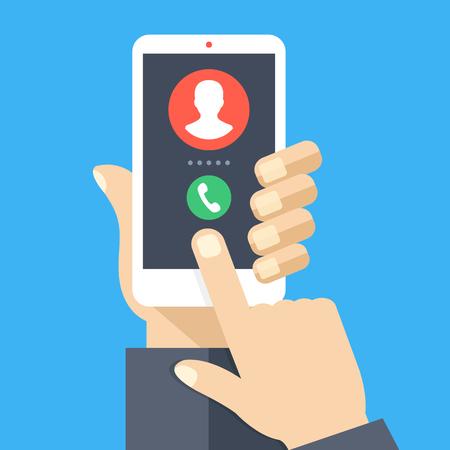 Appel entrant. Smartphone blanc avec écran d'appel. Répondez au concept de téléphone. Main humaine tenant un téléphone portable, écran tactile du doigt. Éléments et objets graphiques de design plat moderne. Illustration vectorielle Vecteurs