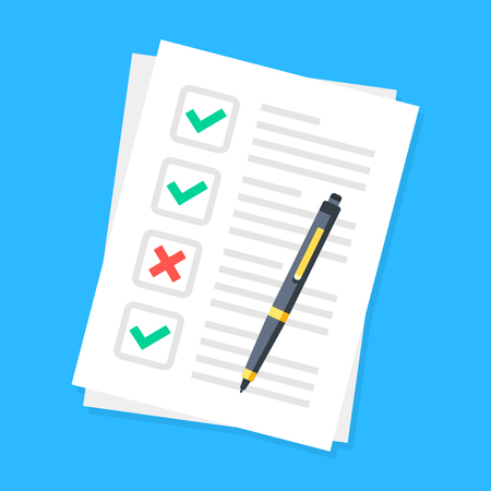 Checklist. Sheets of paper with check boxes, green checkmarks, red x mark and pen. List, survey, tasks concepts. Vector illustration Banque d'images - 121498705