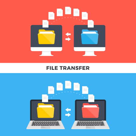 File transfer. Computers and laptops copying data. Information exchange, file management, sharing, uploading, downloading, backup concepts. Modern flat style design graphic. Vector illustration