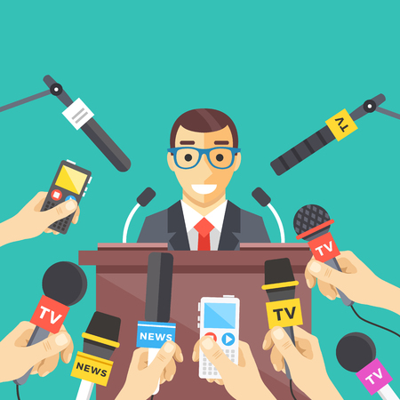 Press conference, interview, news concepts. Hands holding microphones and voice recorders, man standing at tribune with microphones. Flat design. Vector illustration