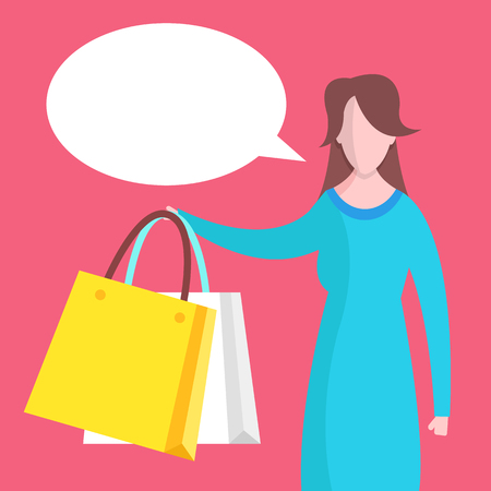 Woman with shopping bags and speech bubble. Shopping, sale concepts. Flat design. Vector illustration Banque d'images - 121498717
