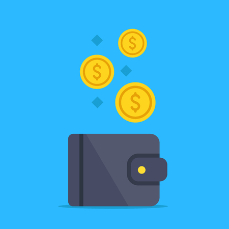 Wallet and gold coins. Money, investment, income, savings, investing concepts. Modern flat design graphic elements. Vector illustration Banque d'images - 121498724