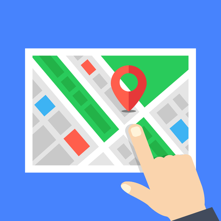 Map and pointing hand. Location, navigation concepts. Flat design. Vector illustration