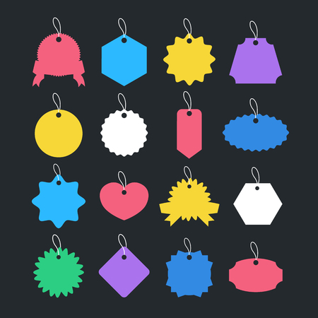 Price tags and paper labels set. Sale tags and gift cards collection. Vector illustration Banque d'images - 121498726