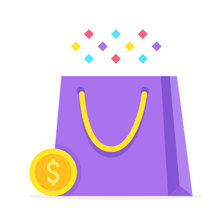Shopping. Shopping bag and gold coin. Sale, discount, consumerism concepts. Flat design. Vector illustration Banque d'images - 121498727