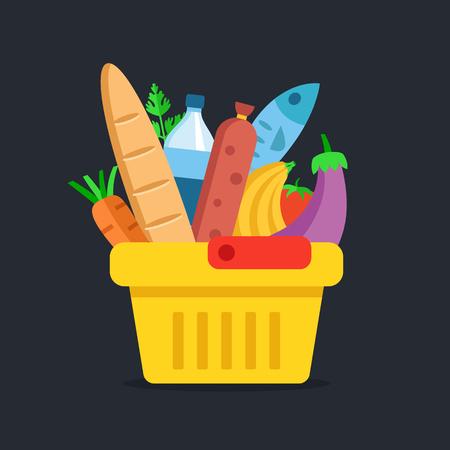 Winkelmandje met eten. Kruidenier, supermarkt concepten. Plat ontwerp. vector illustratie