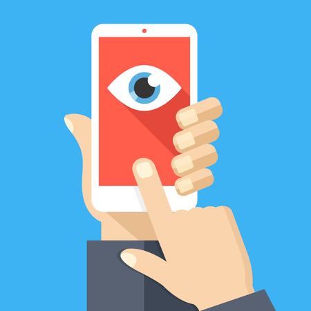 Face recognition, surveillance concepts. Hand holding smartphone, finger touching screen. Mobile phone with eye icon on screen. Flat design. Vector illustration