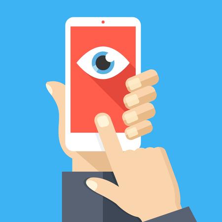 Gesichtserkennung, Überwachungskonzepte. Hand hält Smartphone, Finger-Touchscreen. Handy mit Augensymbol auf dem Bildschirm. Flaches Design. Vektor-Illustration