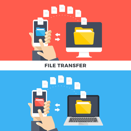 File transfer. Smartphone and computers and laptops copying information. Data exchange, file management, sharing, uploading, downloading, backup concepts. Flat style design graphic.