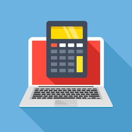 Laptop with calculator on screen. Flat design. 写真素材 - 124095346