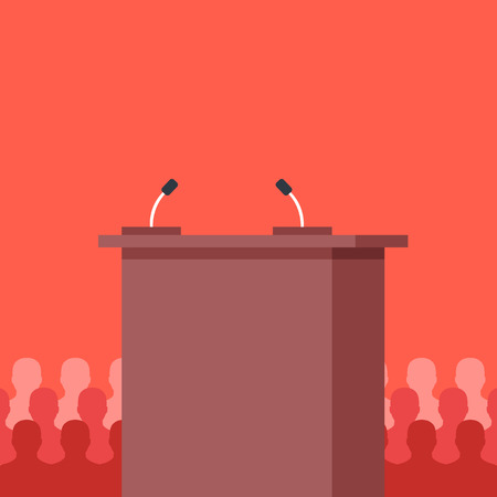 Rostrum, tribune. Conference, meeting, podium and audience concepts. Flat design.  イラスト・ベクター素材