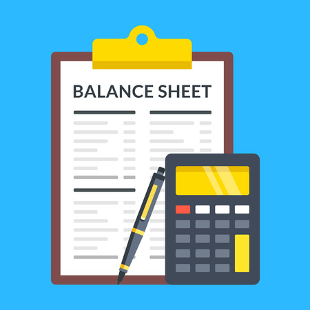 Balance sheet, calculator and pen. Flat design. Ilustracja