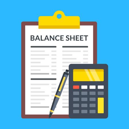 Balance sheet, calculator and pen. Flat design. Illustration
