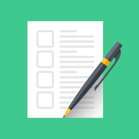 Checklist icon. Blank check list with empty check boxes and pen. Flat design.  イラスト・ベクター素材