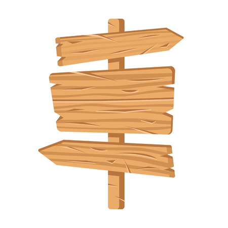 Direction sign. Wooden signpost.