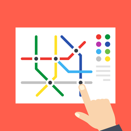 Subway map and pointing hand. Underground, metro map concepts. Flat design.