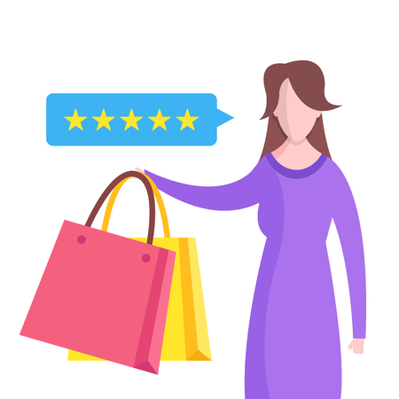 Feedback, customer review concepts. Woman with shopping bags and speech bubble with rating stars. Flat design. 写真素材 - 124095364
