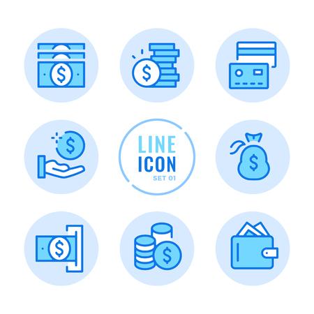 Money line icons set. Wallet, cash, money bag, coins, credit card outline symbols. Modern simple stroke graphic elements. Round icons