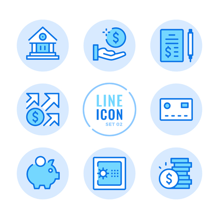 Banking line icons set. Bank, safe, piggy bank, investment, finance outline symbols. Modern simple stroke graphic elements. Round icons