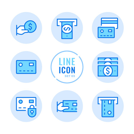 Credit card line icons set. ATM, cashback, withdraw cash, online payment outline symbols. Modern simple stroke graphic elements. Round icons  イラスト・ベクター素材