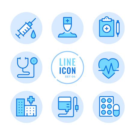 Hospital line icons set. Healthcare, doctor, stethoscope, syringe, pills outline symbols. Modern simple stroke graphic elements. Round icons