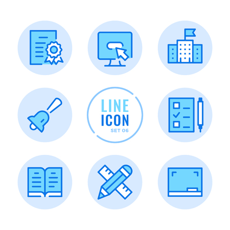 School line icons set. Education, diploma, lesson, book, blackboard outline symbols. Modern simple stroke graphic elements. Round icons  イラスト・ベクター素材