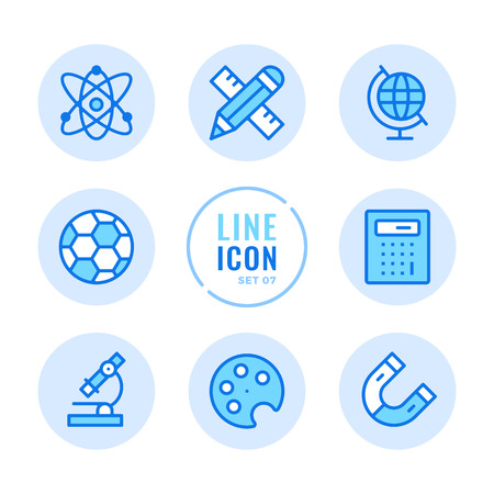 School subjects line icons set. Mathematics, physics, chemistry, sport, art, geography outline symbols. Modern simple stroke graphic elements. Round icons 写真素材 - 124095363